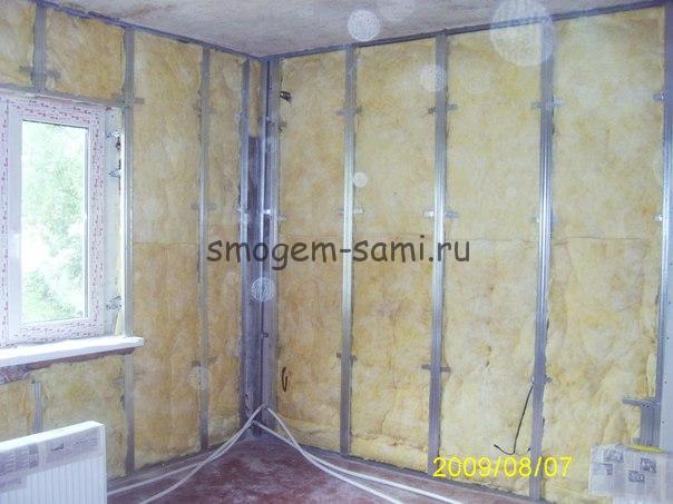 Утепление стен деревянного дома изнутри и мрнтаж каркаса под гипсокартон