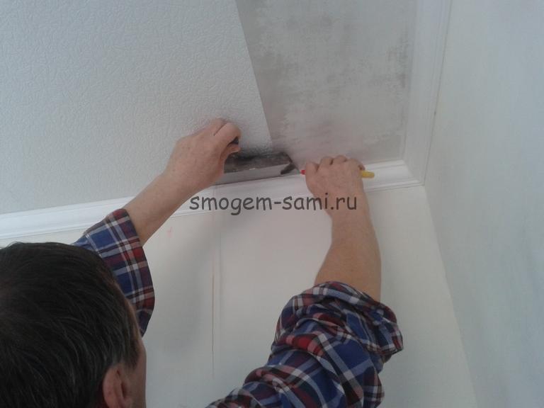 виниловые обои отделка потолка