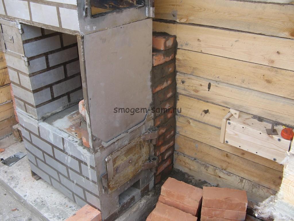 Перегородка в деревянной бане из кирпича своими руками