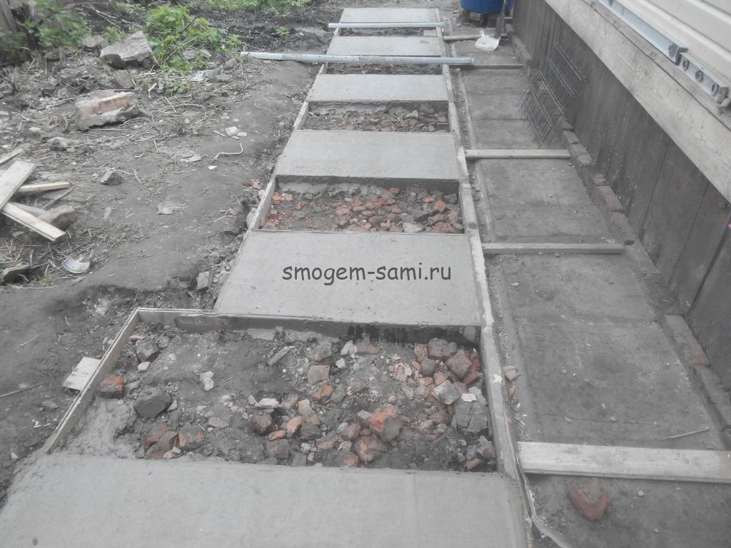 как сделать бетонные дорожки своими руками на даче