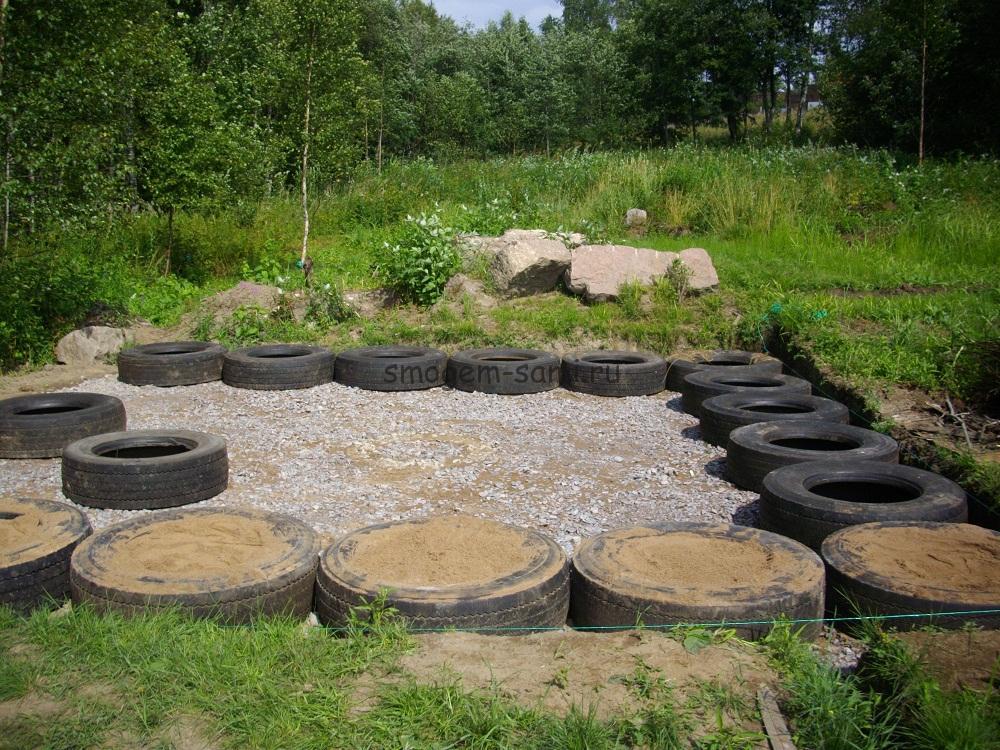 фото фундамент из покрышек для бани как сделать
