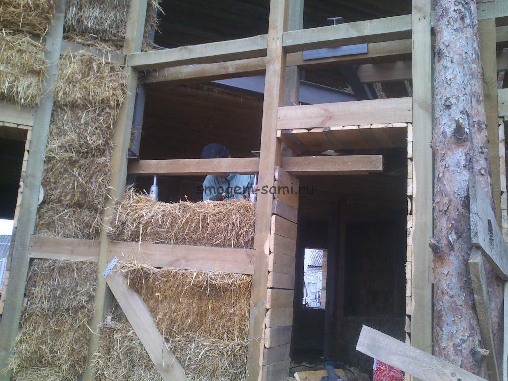 каркасный дом утепление соломой фото