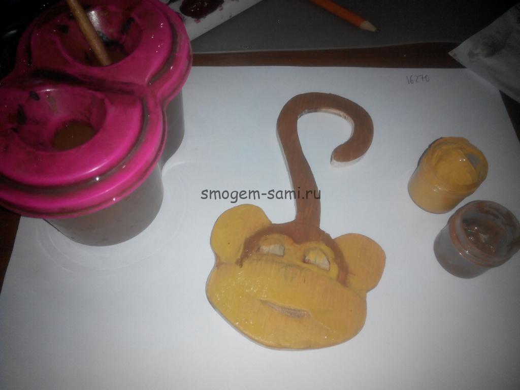 ёлочная игрушка своими руками обезьяна из фанеры фото