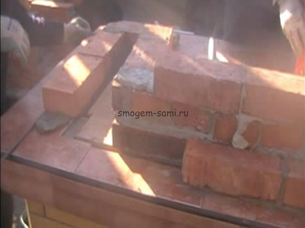 как сделать камина из кирпича с мангалом фото