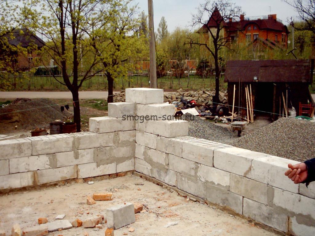 Строительство несущих стен из пеноблока