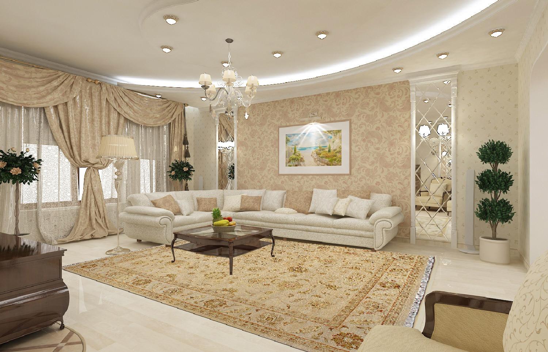 Интерьер гостиной квартиры в классическом стиле
