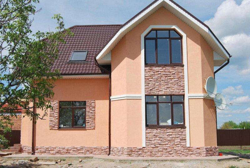 Штукатурная отделка фасада дома фото