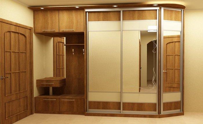 Дизайн встроенного шкафа купе в коридор